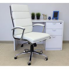 Comm Office Heinrike Caressoft Plus Conference Chair Upholstery Colour: White, Upholstery Material: Smooth Vinyl Furniture Sale, Office Furniture, Mesh Office Chair, Office Chairs, Desk Chairs, Conference Chairs, Chrome Colour, Executive Chair, Chair Backs