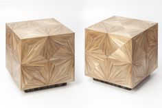 Side table in straw marquetry. Designed and realised at Atelier Arthur Seigneur.