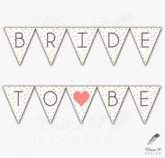 Bride to be Banner - Printed or Digital, Confetti, Instant Download, Bubbles, Gold, Coral, Grey, Pink, Wedding - #013