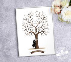 Hochzeitsgästebuch - HOCHZEITSBAUM ❤ Wedding Tree - Leinwand & ... - ein Designerstück von Feenstaub-Papeterie bei DaWanda