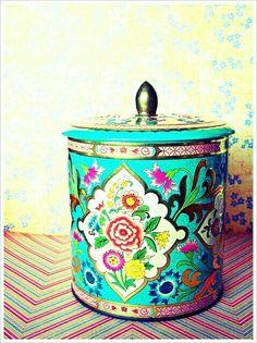 Vintage Floral Tin Canister