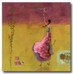 CARTES D'ART > BOISSONNARD Gaëlle > CARTES SIMPLES 14x14cm > BOISSONNARD Au revoir la lune - e-mages - La carterie d art