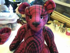 A few finishing touches and this Memory Bear  will be ready for his new home!