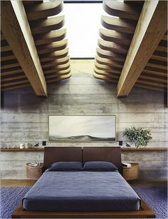 Nice and Cool Bedroom Ideas Men Design Creation : Stunning Modern Concrete Style Wall Wood Ceiling Cool Bedroom Color Ideas Men