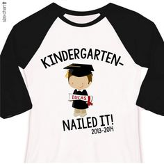 Kindergarten graduation shirt - funny kindergarten nailed it boys personalized RAGLAN style graduation Tshirt on Etsy, $22.50