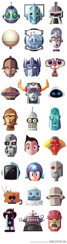 Famous robots.  This is straight up awesome!   There are a couple I can't name,  but I know most of them