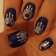 Silver nails - Indian Glamour Nail Water Decals   Nail Art Supplies   Sparkly Nails