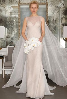 Column gown with an illusion neckline wedding dress from Romona Keveza's Spring 2017 collection