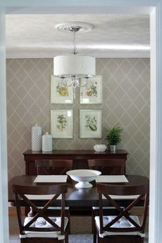 Stunning Stenciled Wallpaper On The Far Wall While It Looks High End