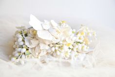 Antique French Flower Crown Vintage Tiara Wax by BarcelonaDecoLab