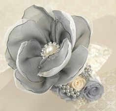 Corsage Wrist Corsage Mother of the Bride in Grey and by SolBijou, $85.00