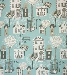 Jubilee Square Wallpaper A delightful wallpaper printed in light turquoise with a street theme featuring town houses, urban trees and street furniture. Also available as a fabric.