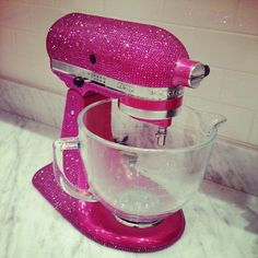 Sparkling pink kitchen mixer! Ooh la la!  I might just have to add the crystals to mine. ;-)