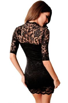 Dear-Lover Women's Ladies V-neck Mini Slim Lace Dress Clubwear Half Sleeves One Size Black
