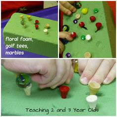 Pushing golf tees into floral foam and balancing marbles on top (fine motor activity)