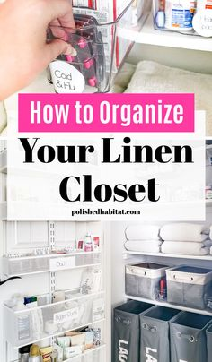 Do you have a messy linen closet? Are your towels, sheets, medicine, and toiletries jammed into one crowded space in the bathroom or hallway? Try some of the ideas from our closet organizing makeover for the best closet organization! Bathroom Closet Organization, Medicine Organization, Home Organization Hacks, Organizing Your Home, Organizing Tips, Cleaning Hacks, Organize Your Life, Declutter, Towels