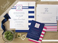 SAMPLE: Nautical 3 Piece Wedding Suite / Invitation Reply Card Enclosure Card / Paper Pack / Color Chart - FREE Shipping #Pink #Wedding #PinkWedding #Paper