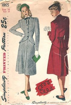 Simplicity 1865; ©1946; Junior Misses' and Misses' Two-Piece Suit