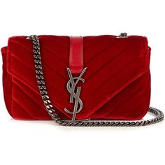 Saint Laurent Monogram baby quilted-velvet cross-body bag (€1.385) ❤ liked on Polyvore featuring bags, handbags, shoulder bags, evening handbags, red cross body purse, red handbags, crossbody handbag and monogrammed purses