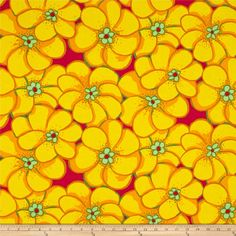 Brandon Mably Elephant Flower Yellow from @fabricdotcom  Designed by Brandon Mably for Free Spirit Fabrics in association with Westminster/Rowan, this cotton print is perfect for Quilting, Apparel, and Home Decor Fabrics. Colors include yellow, orange, green, and pink.