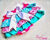 Baby Girl Bloomer--diaper cover--ruffle diaper cover--ruffle bloomer--Pink polka dot and Teal--Summer--Baby Girl birthday-Photo Prop