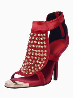 Red Suede Studs Heeled Sandals | Choies
