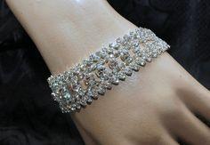 Rhinestone Silver Bracelet Bridal Bracelet by AyansiWeddingDesigns