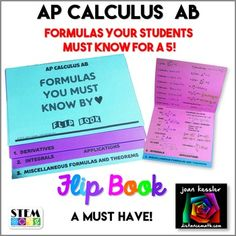 AP Calculus AB - the formulas they MUST KNOW by ♥ in an easy to make, no mess Flip Book. Strive for a 2 VERSIONS!Your students will love this! This resource is designed for AP Calculus AB and can be used for any Calculus class where students are requi. Teacher Toolkit, Teacher Education, Math Teacher, Teaching Math, Ap Calculus, Algebra 2, Flip Books, Math Books, Math Resources