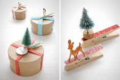 Clothes pin name tags.  Can be used as tree ornaments after.