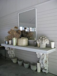salvage corbels-brackets & wide plank will make an outdoor table or interior snack table-bar. Backyard Bar, Patio Bar, Patio Table, Backyard Ideas, Patio Ideas, Garden Table, Large Backyard, Porch Ideas, Kitchen Table Bench