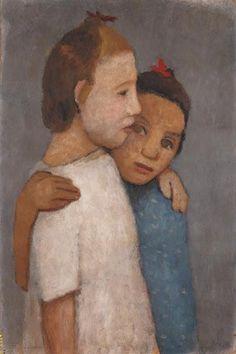 Paula Modersohn-Becker - Figurative Painting - Two young girls with white & blue shirt - Zwei Mädchen in weissen und blauem Kleid, sich an der Schulter umfassend (1906)