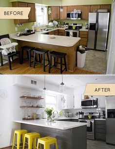 Kitchen reno. Love this. But those old stools would of been better kept and painted yellow!! :)