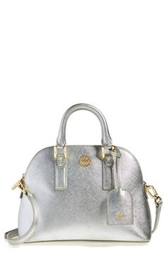 Love this little metallic silver Tory Burch satchel!