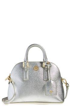 Love this little metallic silver Tory Burch satchel!
