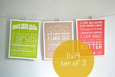 Set of Three 11x14 Kitchen Art Prints of Classic by articipe, $60.00
