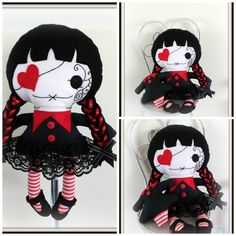 Goth Girl Rag Doll. This adorable goth girl doll is looking for a new home. She would make a perfect gift for someone who loves the gothic style. She comes with removable shoes & her own headless goth toy. Measures: approx. 38cm . Made from quality cotton, felt and new hobby fill.