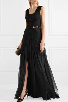 Zuhair Murad | Embellished tulle-paneled ruched silk-chiffon gown | NET-A-PORTER.COM