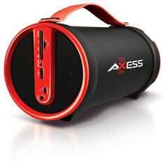 "Amazon.com: Axess SPBT1033-RD Portable Bluetooth Indoor/Outdoor 2.1 Hi-Fi Cylinder Loud Speaker with SD Card, AUX and FM Inputs, 4"" Sub In Red Color: MP3 Players & Accessories"