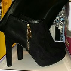 Black Suede Booties These cuties are perfect for dress up or dress down. Zip inside and faux side gold zipper. Perfect with decorative tights. New.. Marc Fisher Shoes Ankle Boots & Booties