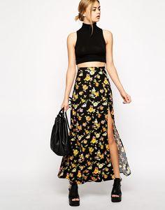 Motel Hanny Maxi Skirt In Floral Fever Print at asos.com