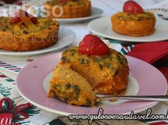 Mini Cheesecake de Batata Doce com Calda de Maracujá