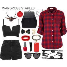 Red & black by leinijewelry on Polyvore featuring polyvore fashion style Topshop Zara Tattify Illesteva Dsquared2 H&M Bobbi Brown Cosmetics Wild & Wolf OPI