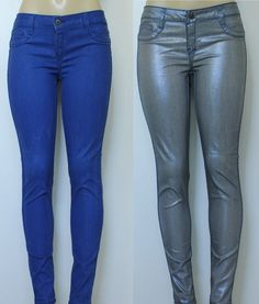 NWOT BLEULAB Jeans Skinny Detour Legging Jegging Blue Metallic Gray REVERSIBLE #Bleulab #SlimSkinny