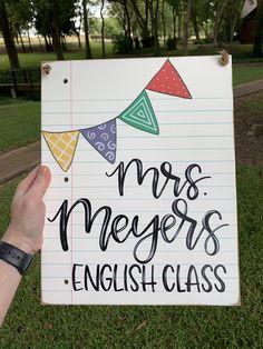 Teacher Door Signs, Classroom Door Signs, Teacher Doors, Classroom Decor, Teacher Name Canvas, Teacher End Of Year, Notebook Paper, Teacher Favorite Things, Diy Signs