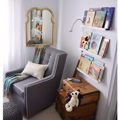 A reading corner is the perfect addition to any nursery. Don't forget to add the new Dr. Suess book that came out today to your library!  via @projectnursery