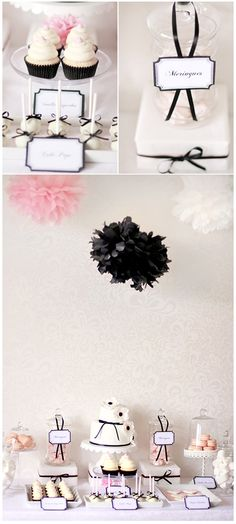 pink, black and white. Nix the hanging black pom poms but do use black pom poms as table decor. Do use gray hanging pom poms, as baby shower is Pink - Gray - Tan/Cream