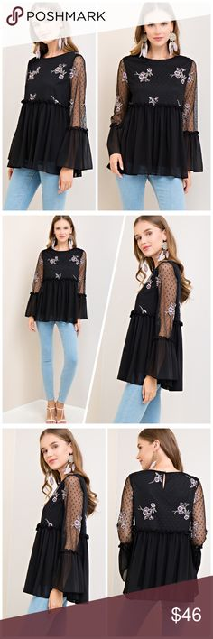 Sooo Beautiful Sheer Bell Sleeve Black/Lilac Top Babydoll top with mesh overlay - fully lined with Lilac Embroidery Tops