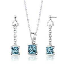 Sterling Silver Rhodium Finish 2.75 carats total weight Princess Cut Swiss Blue Topaz Pendant Earrings and 18 inch Necklace Set . $49.99