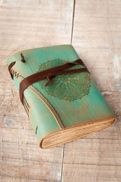 Turquoise Leather Journal Handbound Journal Leather by DSBindery