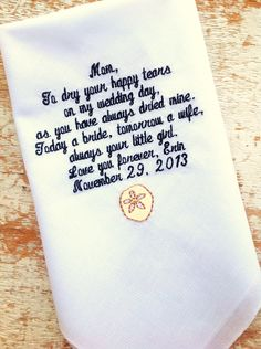 A personal favorite from my Etsy shop https://www.etsy.com/listing/163742274/mom-from-bride-wedding-heirloom
